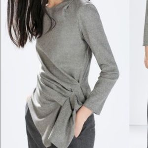 Zara Wool Blend Gray asymmetrical top